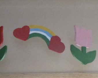 Hanging Wooden Tulips and Rainbow with Hearts.