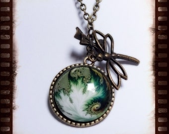 Cabochon necklace with small decorative bow and love Ellen trailer in bronzefarbend