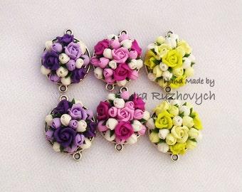 polymer clay flower bead