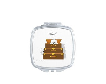 Bichons in Suitcases Compact Mirror. Personalized
