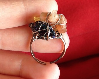 Mixed Wire-wrapped Crystal, Adjustable Ring