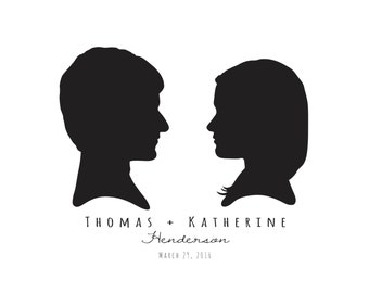 Commemorative Marriage Silhouette Portraits, unframed - Simple Design