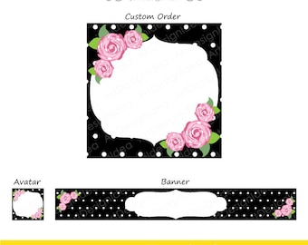 Avatar Banner and Custom Order Design image. Premade Etsy Set. Instant download high quality files. Roses and Dots. Item 2504