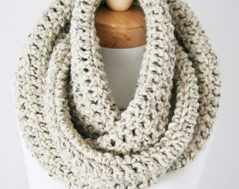 Chunky Infinity Scarf, Soft Wool Blend Scarf, Oversized Knitted Scarf, Handmade Scarf in Oatmeal, Women's Scarf
