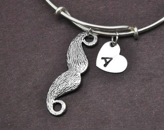 Mustache Bangle, Sterling Silver Bangle, Mustache Bracelet, Bridesmaid Gift, Personalized Bracelet, Charm Bangle, Initial Bracelet