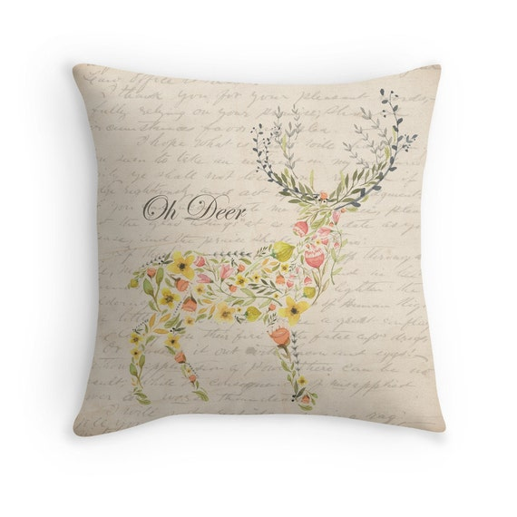 Shabby Chic Deer Pillow : Oh Deer Pillow Cover Antlers Shabby Chic Home Decor Throw
