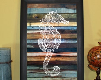 Seahorse Wood Sign (Right) 11x17""