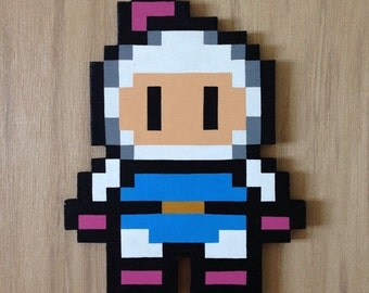 Bomberman - 8bit wooden pixel art.