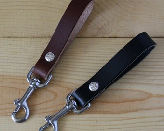 Handmade Leather Key Fob Mens Belt Loop Keychain Purse Strap_Stainless Steel Snap Hook_Made in USA_FREE SHIPPING