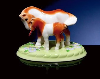 Porcelain Mare and Foal Figurine Titled Love You