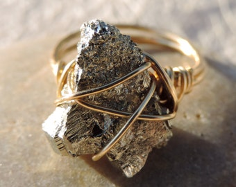 wire wrapped free form pyrite ring