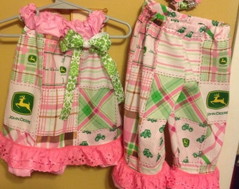 Pink John Deere shirt and pants outfit girls with matching hair bow