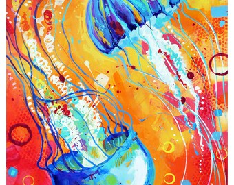 "Jelly Dance - Original colorful traditional painting paper acrylic 11""x14"""
