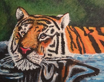 Tiger in Water Painting