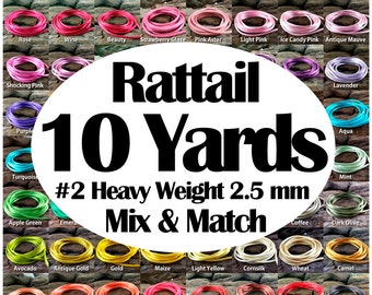 10 yards Rattail Satin Rayon Cord #2 Heavy Weight