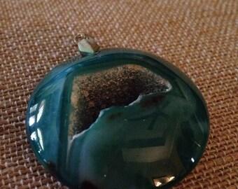 Vintage Green,Druzy Agate Geode Pendant