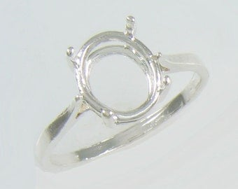 Prenotched 10x8 Oval Solitaire Ring Setting Cast In 100% Eco-Friendly Recycled Sterling Silver Sizes 6,7,8,9