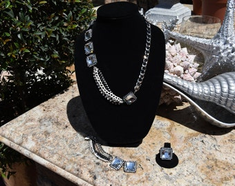 Black and Silver Rhinestone Necklace, Bracelet and Ring Set