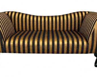 Designer Black and Gold Stripe Chaise Longue Sofa Chair