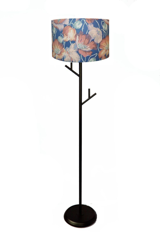 Vintage floral flower print lamp stand floor lamp light for Antique floor lamp lighted base