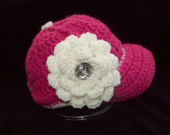 Baby Hat with flower. Crochet ball cap. Any size or color up to 6 months