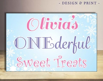 Winter Themed First Birthday Party Dessert Table Sign. Customizable printed sign, mounting available.