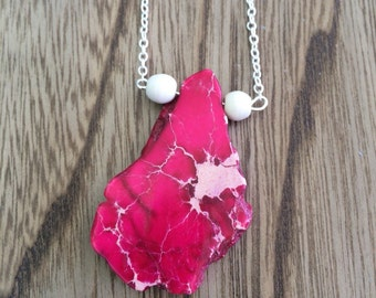 On sale !Pink jasper large pendant with small white howlite bead on each side, on a sterling silver chain