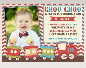 Vintage Choo Choo Train Birthday Party printable Photo invitation - Chugga Chugga Train Birthday Party Invite #308