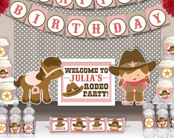 Cute Cowgirl Rodeo Birthday Party Printable Party Decorations Supplies - Super Set Party Kit PK-9