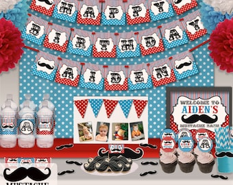 Little Man Mustache Bash Birthday Party Printable Party Decorations Supplies - Mini Set Party Kit PK-21