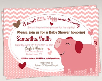 Cute Little Piggy Baby Shower Invitation - Pig Printable Invitation #331