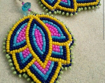Bright Bold Beaded Floral Earrings by create beautiful beads. Buyers choice of colors and backings. The perfect summertime accessory.