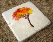 Stone Coaster Set Of 4, Watercolor Tree