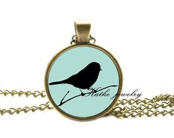 Mint green birds necklace, bird pendant, nature necklace, bird jewelry
