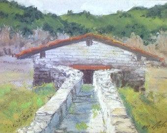 Waterhouse Mission San Antonio - small original pastel painting california spanish historical art