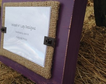 Thick Distressed Wood Picture Frame, Purple Eggplant with Burlap, Rustic, 4 x 6 Frame, Stand alone frame