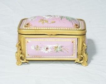Antique PInk Enamel Box