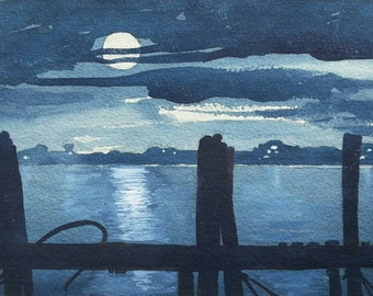 SALE!  New lower price!! Fabulous original vintage painting of a moonlit bay!