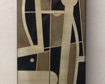Silvio Giovenetti Abstract Acid Etched Metal Painting      1971