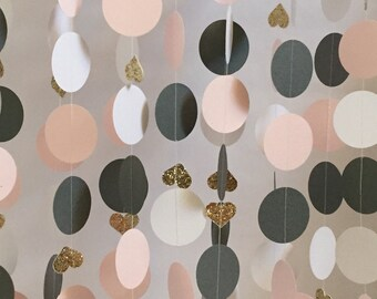 Wedding, Bridal Shower Decorations, Paper Garland, Pink, Slate Gray, Gold Glitter