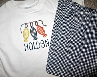 Baby Boys, Toddler Boys, Boys, Personalized, Monogrammed, Appliqued, Fish on a String T-Shirt and Short Set or Pants Set size 12m-5t