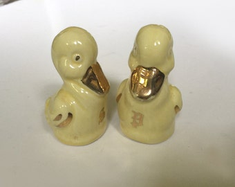 Vintage Yellow Duck Porcelain Salt and Pepper Shakers with Gold Trim