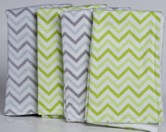Gray and Green Chevron Burp Cloths (Gender neutral)