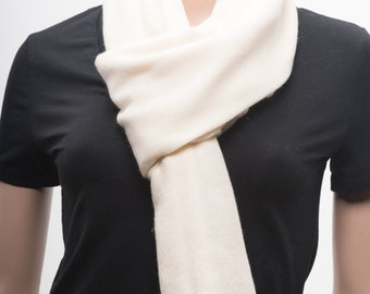 UItra-fine Handwoven Cashmere Scarf, Ivory Color