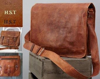 Personalised Leather Messenger Bag by Vida Vida