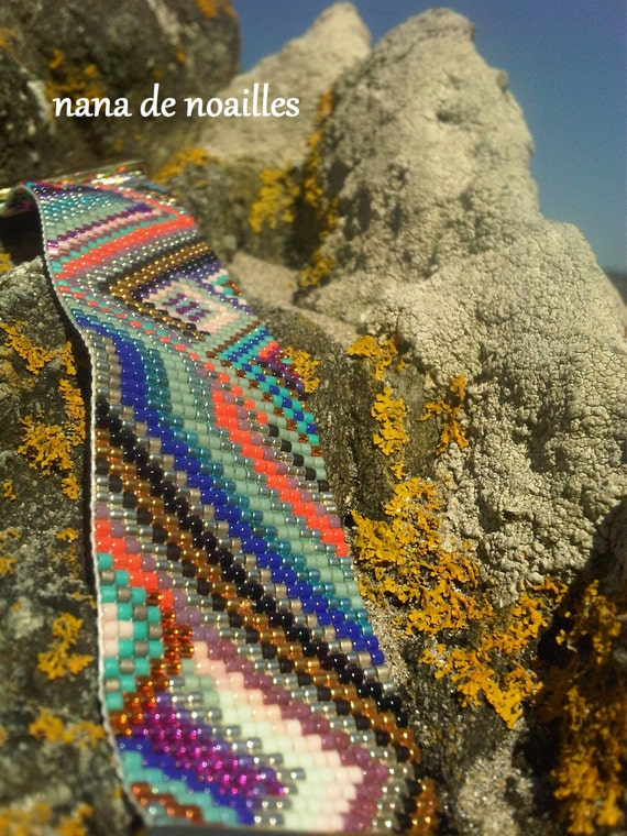 Bracelet Manchette  Perles de rocailles Miyuki Tissées / collection WAX/summer