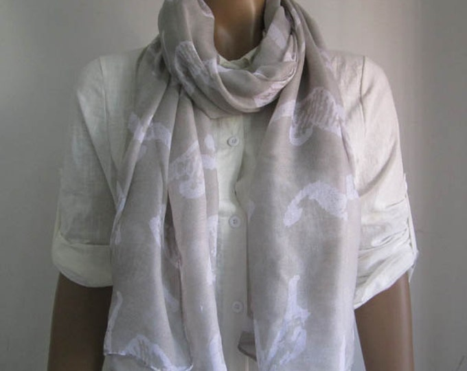 Gray Scarf Animal Print Scarf Seahorse Scarf Spring Gray Scarf Women Fashion Accessories Holiday Fashion Gray Shawl
