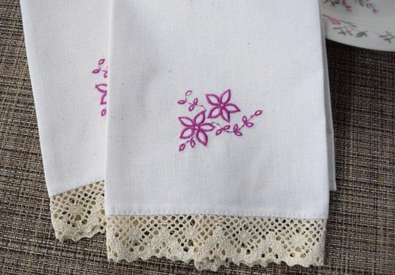 Embroidered Linen Tea Towel Set of Two - Fuchsia Flowers