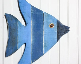 Wooden Fish Wall Art painted string of wooden fish wall decor made with repurposed