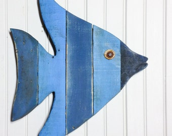 Painted Angel Fish Art - beachy wall art made with reclaimed lumber - great for a beach house, lake house, coastal theme room or ocean decor